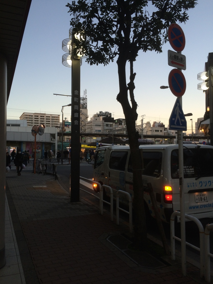 At Kanamachi, waiting for L to pick me up. So cold, but pretty, but cold.