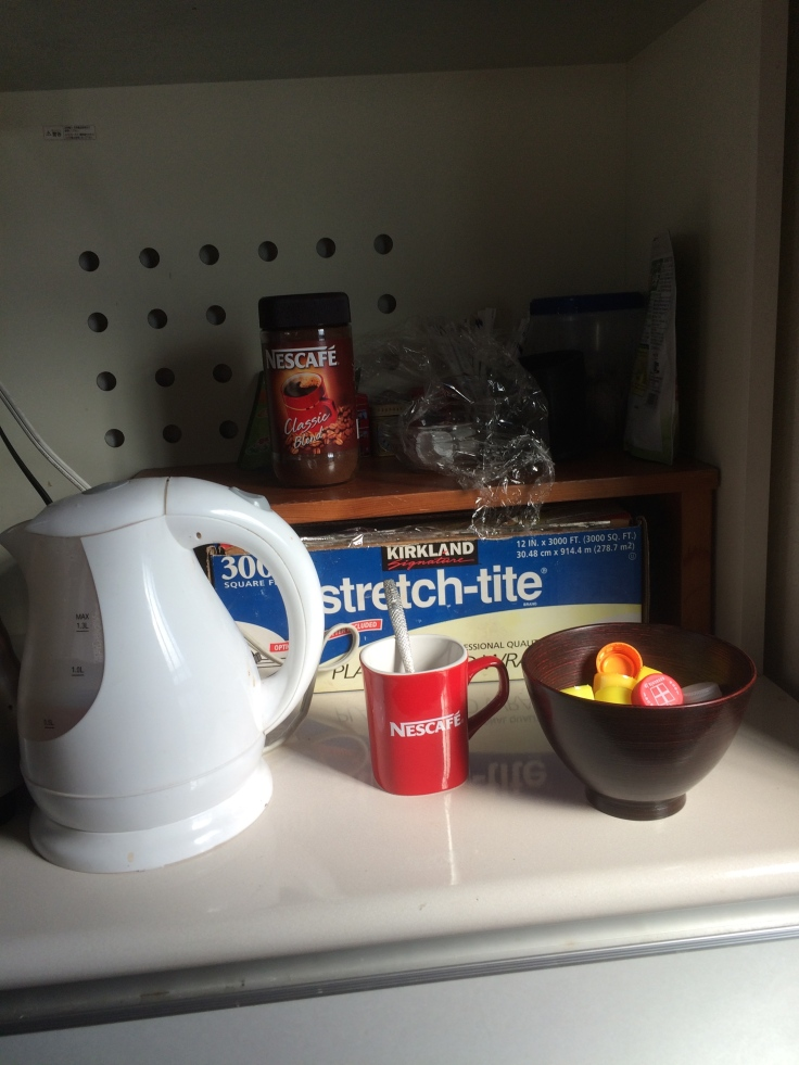 Tea and coffee station. I found out quickly that I'm going to need to buy some sugar.