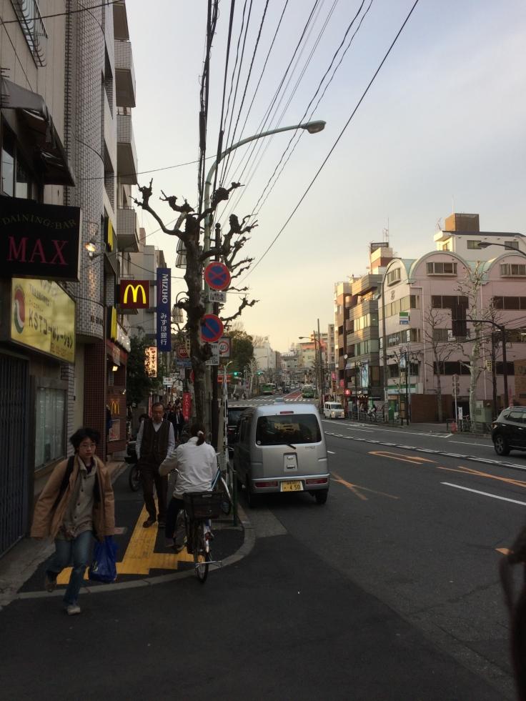 Walking in Waseda with Kami towards the taiyaki shop.