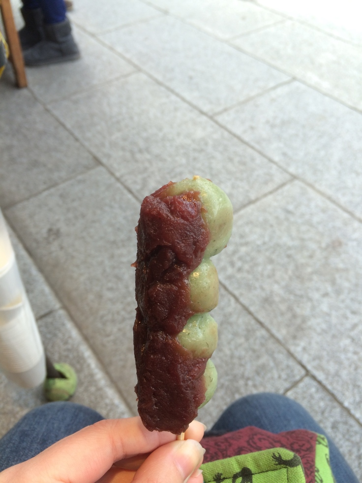green-tea dango with red bean paste. Easily the best thing I've eaten so far, which is saying a lot.